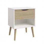 Noční stolek Linnea - dub sonoma / bílá