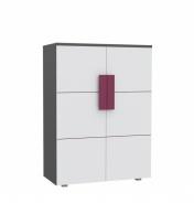 Dětská komoda Lobete 40 - šedá/bílá/fialová