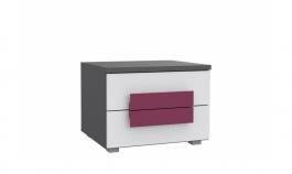 Dětský noční stolek Lobete - šedá/bílá/fialová