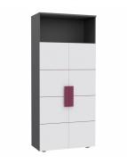 Skříň Lobete - šedá/bílá/fialová