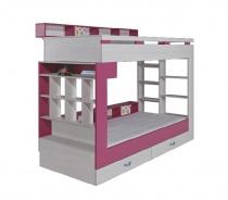 Patrová postel s úložným prostorem Adéla - jasan/růžová