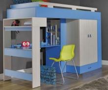 Vyvýšená postel s psacím stolem a skříní Adéla - modrá