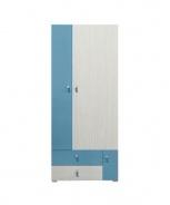Dětská šatní skříň Adéla I - jasan/modrá