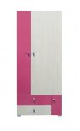 Dětská šatní skříň Adéla I - jasan/růžová