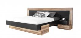 Manželská postel  Reno 160x200cm - ořech baltimore/černý lux