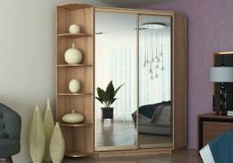 Šatní skříň rohová CORA 140 - dub sonoma/zrcadlo