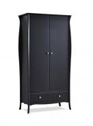 Šatní skříň Baroko 2D1S - černá/hnědá