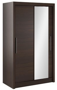 Šatní skříň Lisbeth I s posuvnými dveřmi a zrcadlem - čokoláda / wenge