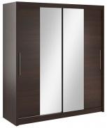 Šatní skříň Lisbeth II s posuvnými dveřmi a zrcadlem - čokoláda / wenge