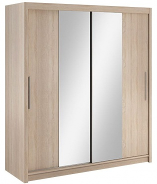Šatní skříň Lisbeth II s posuvnými dveřmi a zrcadlem - dub sonoma