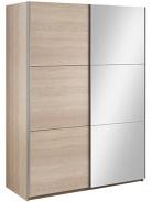 Šatní skříň Samanta s posuvnými dveřmi a zrcadlem - dub sonoma