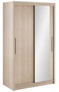Šatní skříň Lisbeth I s posuvnými dveřmi a zrcadlem - dub sonoma