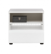 Noční stolek Neo s osvětlením - bílá / beton
