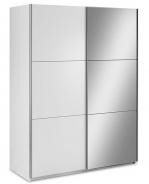 Šatní skříň Samanta s posuvnými dveřmi a zrcadlem - bílá