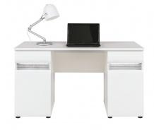 Psací stůl Neo s osvětlením - bílá / beton