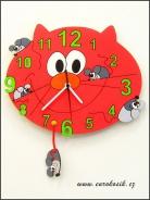 Dětské hodiny nástěnné Kočka červená