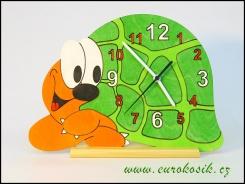 Dětské hodiny nástěnné želva zelená