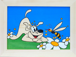 Dětský obrázek na zeď pes a včela