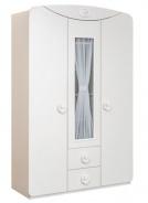Třídvéřová šatní skříň s prosklením Chloe - bílá