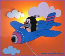 Dětská lampička Krteček v letadle
