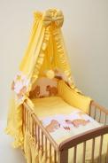 Dětské povlečení do postýlky Dráčci žlutá