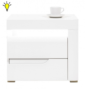 Noční stolek Irma s osvětlením, pravý - bílý