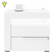 Noční stolek Irma s osvětlením, levý - bílý