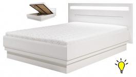 Moderní postel Irma 140x200cm s úložným prostorem a osvětlením - bílá