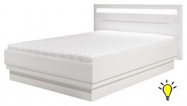 Moderní postel Irma 140x200cm s osvětlením - bílá