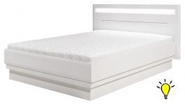 Manželská postel Irma 180x200cm s osvětlením - bílá