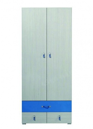 Dětská šatní skříň Adéla II - jasan/modrá