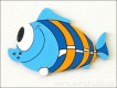 Dekorace ryba modrá 11,5cm - balení 3ks