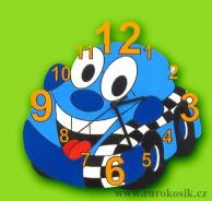 Dětské hodiny nástěnné auto modré