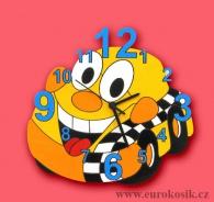 Dětské hodiny nástěnné auto žluté