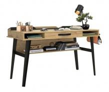 Velký industriální psací stůl Gamora - dub zlatý/černá