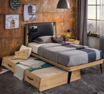 Dětská postel 100x200cm Gamora s přistýlkou - dub zlatý/černá