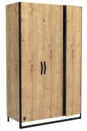 Třídvéřová šatní skříň Gamora - dub zlatý/černá