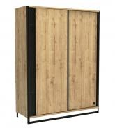 Šatní skříň s posuvnými dveřmi Gamora - dub zlatý/černá