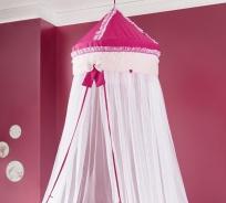 Nebesa nad postel Rosie - růžová/bílá