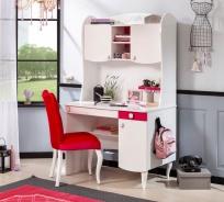 Dětský psací stůl Rosie II s nástavcem - bílá/rubínová