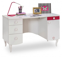Dětský psací stůl Rosie I - bílá/rubínová