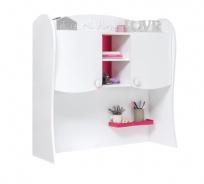 Nástavec nad psací stůl Rosie II - bílá/rubínová