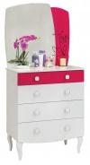 Dětská zásuvková komoda Rosie se zrcadlem - bílá/rubínová