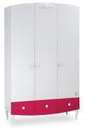Třídveřová šatní skříň Rosie - bílá/rubínová
