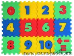 Pěnové puzzle koberec - čísla, 12 dílků