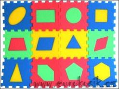 Pěnové puzzle koberec geometrické obrazce, 12 dílků