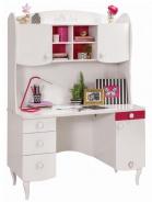 Dětský psací stůl Rosie I s nástavcem - bílá/rubínová