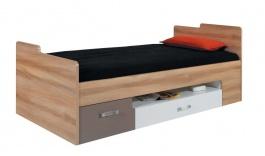 Dětská postel s úložným prostorem Anabel - jilm/bílá lux/cappucino