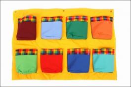 Dětský kapsář s 8 kapsami žlutý