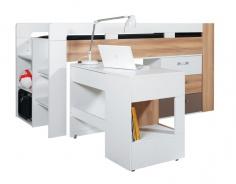Dětská vyvýšená postel s psacím stolem Anabel - jilm/bílá lux/cappucino